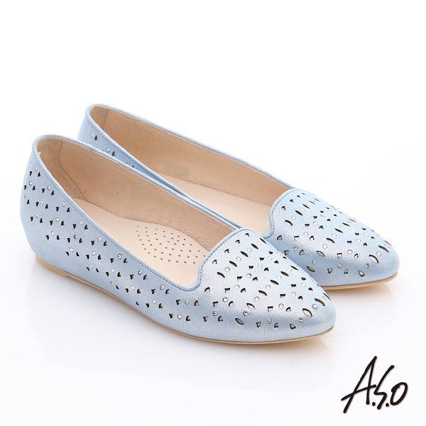 A.S.O 玩美涼夏 金屬感羊皮內增高平底鞋  藍