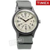 TIMEX 天美時 / TXTW2T10500 / 美國品牌 INDIGLO專利冷光照明 24小時顯示 帆布手錶 米白x灰 40mm