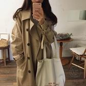 風衣女中長款顯瘦流行外套寬鬆廓形女裝【小酒窩服飾】