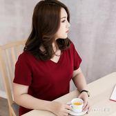大尺碼T恤女 夏裝大碼女純色寬鬆顯瘦體恤衫v領棉質短袖 JY4647【Sweet家居】