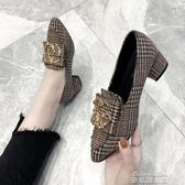 豆豆鞋單鞋女 春款百搭網紅低跟中跟淑女仙女溫柔春秋粗跟尖頭豆豆鞋(快速出貨)