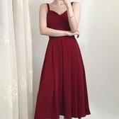 紅色小禮服裙赫本風仙氣長裙夏季到腳踝挖空法式山本背帶連身裙女 艾瑞斯居家生活