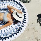 戶外海邊便攜超輕防沙野餐布墊子席必備用品 圓形防潮水沙灘地墊  糖糖日系森女屋