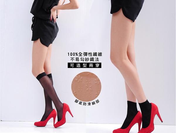 Amiss【A410-4】不易勾紗織法-腳底防滑★彈性中筒絲襪(2色)