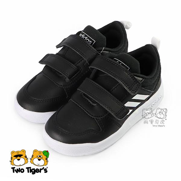 ADIDAS TENSAURI 黑色 皮質 魔鬼氈 慢跑鞋 小童鞋 NO.R5061