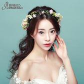 新款森系新娘頭花結婚頭飾花環伴娘度假攝影韓式花朵配飾品 Mt8058『小美日記』