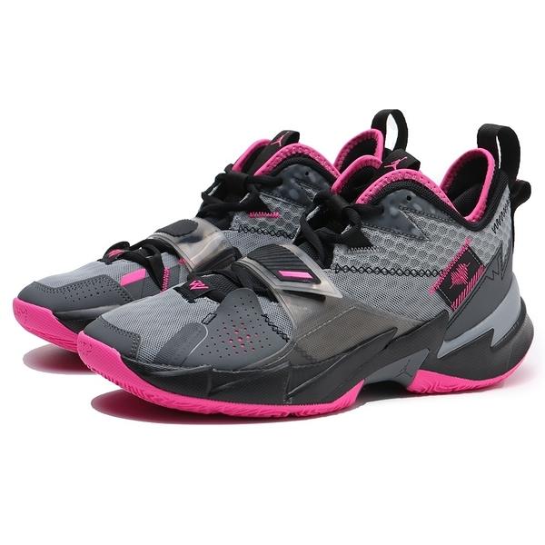 NIKE 籃球鞋 JORDAN WHY NOT ZER0.3 PF 灰桃紅 忍者龜 避震 氣墊 喬丹 男 (布魯克林) CD3002-003