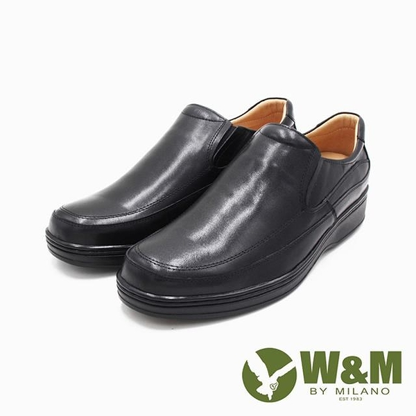 【南紡購物中心】W&M(男)氣墊感厚底增高樂福皮鞋 男鞋-黑