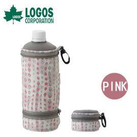 丹大戶外用品 日本【LOGOS】81670292 伸縮保冷水壺袋500ml-粉紅 水壺袋/保冰袋/水壺套