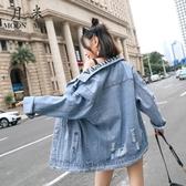 超火cec外套女韓版寬鬆2019新款秋季港風字母刺繡牛仔衣破洞夾克