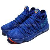 Nike 籃球鞋 Zoom KD 10 EP City Series 藍 橘 勇士 男鞋 低筒 【PUMP306】 897816-402