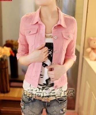 夏季新品糖果色牛仔外套五分中袖短款上衣薄款百搭純色小外套女潮「時尚彩虹屋」