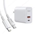 Baseus倍思 風馳30W快充PPS 2孔Type-C+USB充電器-白+PD線Type-C to Lightning 閃充組