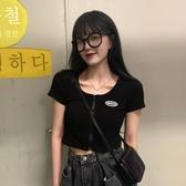 2020新款夏季網紅高腰露臍bm短款上衣黑色緊身短袖T恤女ins潮衣服-米蘭街頭