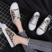 半拖鞋 新款豹紋帆布鞋韓版學生一腳蹬懶人鞋無后跟半拖小白鞋 巴黎春天