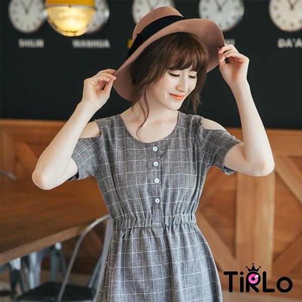 洋裝-Tirlo-格子露肩洋裝-2色