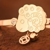 玫瑰金鑲鑽純銀手鍊-可愛小羊生日母親節禮物羊上有錢飾品71ah21【巴黎精品】