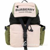 BURBERRY 徽標印花拼色尼龍後背包(玫瑰米色) 1920724-05