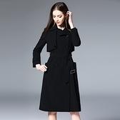 風衣大衣-棉質修身雙排扣加長薄款女外套73pk13[巴黎精品]