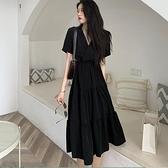 大碼洋裝 大碼胖妹妹很仙的法式桔梗裙女夏復古氣質V領收腰顯瘦長裙洋裝