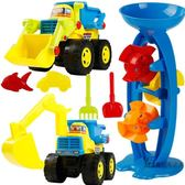 沙灘玩具 兒童沙灘玩具套裝決明子挖沙挖掘機工程車寶寶沙子戲水鏟子工具XW  一件免運