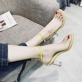 涼鞋 女夏季韓版透明高跟鞋一字扣羅馬鞋