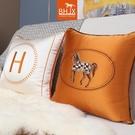 抱枕白色毛絨馬橙色枕套被簡美靠墊靠枕靠墊枕會所45簡約美式米白 夢幻小鎮「快速出貨」