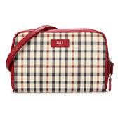 DAKS英倫格紋PVC防刮皮革雙拉鍊手拿斜背兩用包(紅色)230135-30