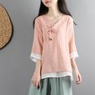 中國風復古文藝棉麻上衣女夏短款雙層紗寬松中袖襯衫中式禪意茶服