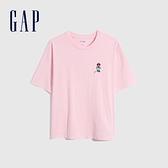 Gap男女同款 Gap x Disney 迪士尼系列純棉厚磅短袖T恤 701568-粉色