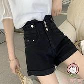 大碼高腰牛仔短褲女夏季韓版時尚顯瘦百搭a字褲闊腿褲【桃可可服飾】