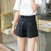 西裝褲雪紡短褲女夏季黑色西裝褲高腰闊腿鬆緊腰加大尺碼寬鬆百搭熱褲(1件免運)