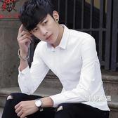 春季白襯衫男士長袖襯衣修身正韓青年素面休閒寸衫男上班職業工裝M-4XL
