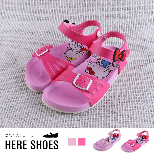 [Here Shoes] (童鞋15-20) MIT台灣製 HELLO KITTY 凱蒂貓印花鞋底 可愛蝴蝶結魔鬼氈 一字涼鞋-KB99180