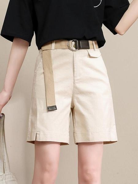 五分褲 工裝短褲女夏季薄款寬鬆休閒褲2021新款中褲a字高腰闊腿5五分褲子 嬡孕哺