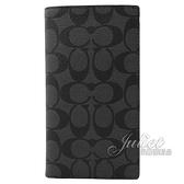 茱麗葉精品【全新現貨】COACH 91663 滿版LOGO PVC 對折護照長夾.黑灰
