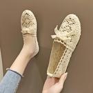 夏季老北京布鞋女透氣網布單鞋蕾絲鏤空軟底女鞋平底豆豆鞋孕婦鞋 果果輕時尚