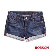 BOBSON 女款超低腰紅線牛仔短褲(217-53)