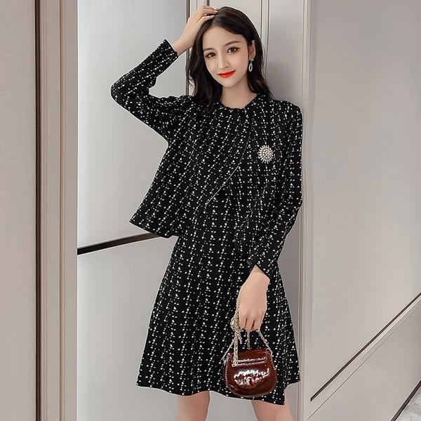 VK旗艦店 韓國風粗花毛呢小香風套裝長袖裙裝