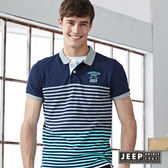 【JEEP】配色美式經典條紋短袖POLO衫 灰綠  (合身版)