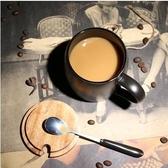 【磨砂黑色帶勺 蓋】歐式咖啡廳磨砂馬克杯陶瓷水杯子
