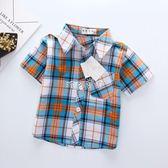 男嬰短袖襯衫 嬰兒童短袖襯衫男童純棉襯衣小童裝0-1-2歲3女寶寶格子半袖潮 珍妮寶貝