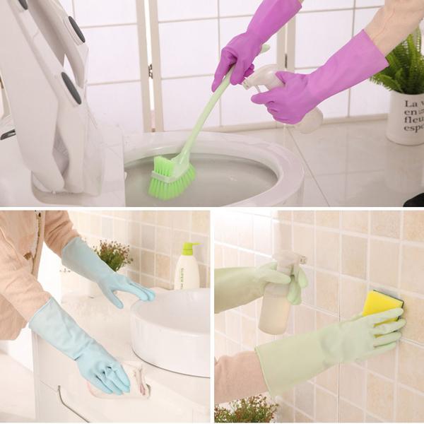 Qmishop 防水橡膠乳膠薄款洗碗手套【J050】