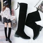 膝上靴 長靴女過膝瘦瘦靴2021秋季新款平底長筒靴子網紅百搭高筒秋款女鞋 歐歐