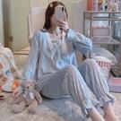 睡衣 珊瑚絨睡衣女春春季加厚保暖甜美可愛法蘭絨家居服兩件套裝藍色【快速出貨八折搶購】