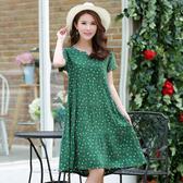 氣質純棉綢闊太太洋裝夏中長款大碼洋氣40一50歲人造棉媽媽裙子XL-6XL