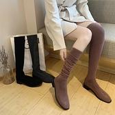 過膝長靴女春秋單靴2021新款彈力針織毛線襪子靴長筒靴高筒靴子女3C數位百貨