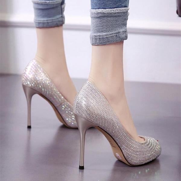 魚口鞋 魚嘴鞋 高跟 8cm超高跟魚嘴淺口女單鞋2020春韓版細跟水鑽鞋防水臺職業公主鞋