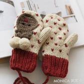 圍美秋冬季針織手套女冬可愛韓版卡通內加絨保暖掛脖全指毛線手套 莫妮卡小屋