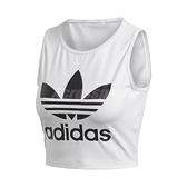adidas 背心 Crop Top 白 黑 女款 短版 大Logo 運動休閒 【ACS】 FL4079